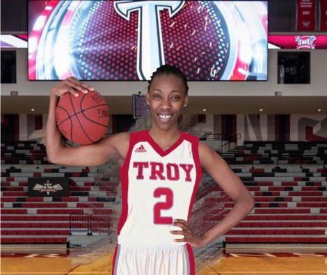 Adhiambo Koranga poses in her new Troy Women's University kit on April 8, 2020.