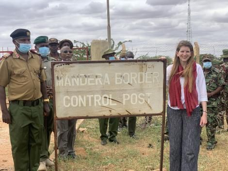 Administration Officers and the UK High Commissioner to Kenya Jane Marriott pictured at the Mandera Border Control Post.