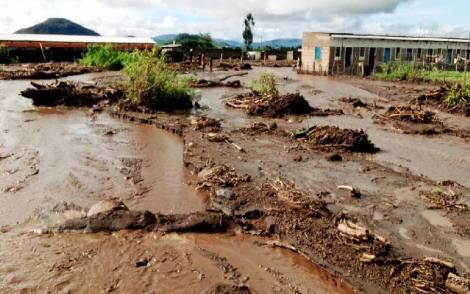 The effects of water spillage after a dam burst in Naivasha County on Friday night, May 1, 2020