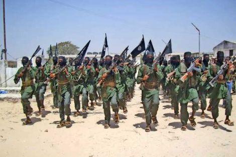 Al-Shabaab militants conduct military drills at a base in Somalia.
