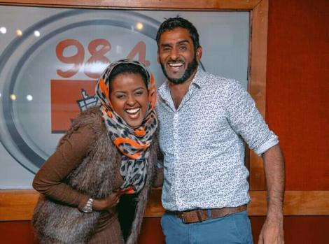 Radio presenters Amina Abdi and Fareed Khimani pose for a photo