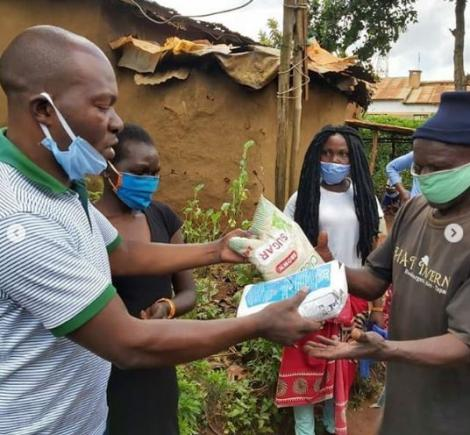 Saboti MP Caleb Amisi donating food to his constituents on May 9.