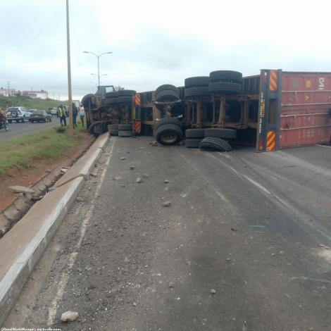 An overturned truck on the Southern Bypass on Monday, May 31