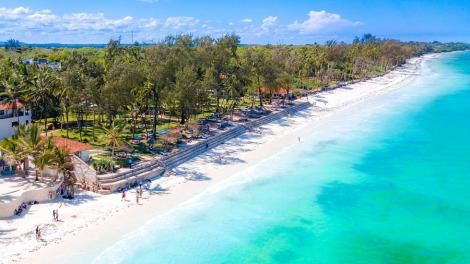 An aerial view of Diani beach at the Coastal region