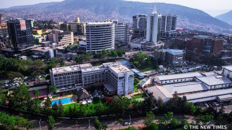 An aerial view of Kigali, Rwanda.