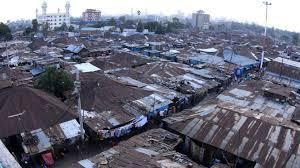 An aerial view of Majengo slum in Nairobi.