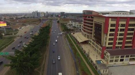 An aerial view of NextGen Mall along Mombasa Road.