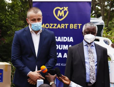 Mozzartbet official speaks to press after making donation to Homa Bay County
