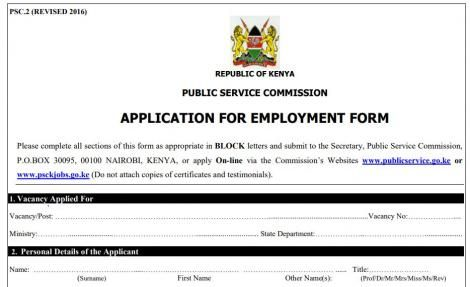 Application form for employment