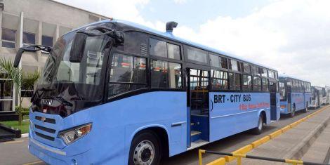 BRT buses pictured in Nairobi.