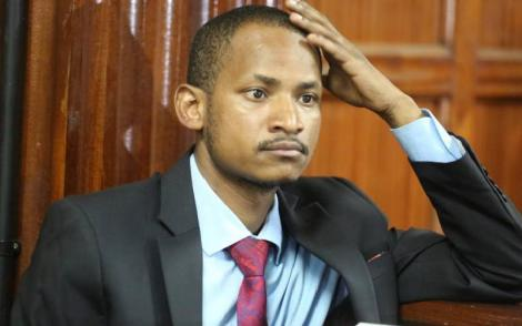Embakasi East MP Babu Owino at the Milimani Law courts on January 27, 2020, during his bail ruling