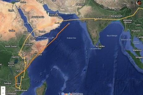 A map indicating Bayan's path from Somalia to India