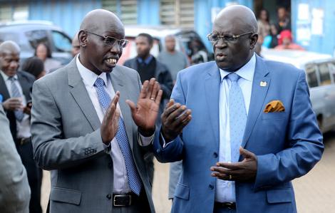 Basic Education PS Bellio Kipsang with CS George Magoha at the Kibra DO's office on January 27, 2020.