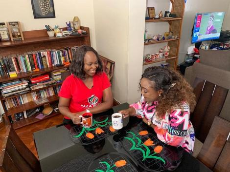 K24 TV news anchor Betty Kyallo (right) with sports personality Carol Radull at her home in Nairobi on March 20, 2020.