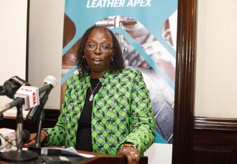 Trade and Industrialization CS Betty Maina speaking during the formal launch of Leather Apex Society Of Kenya on November 13, 2018.