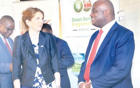 British High Commissioner to Kenya Jane Marriott (left) and Acorn Holdings chief executive Edward Kirathe celebrating the listing of Kenya's first green bond in Nairobi on October 3, 2019