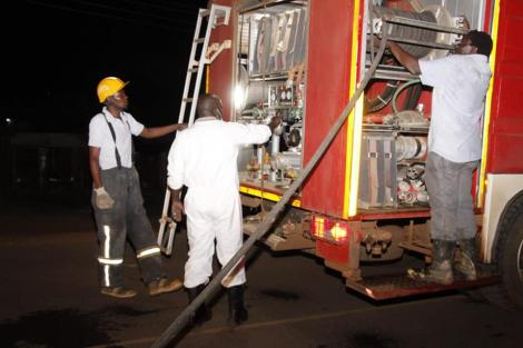 Bungoma County Government officials preparing to fumigate the town.