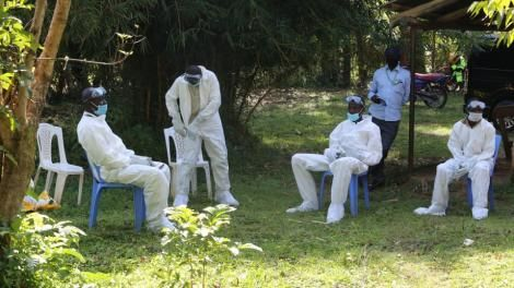 Bungoma County Health Workers taking a break after laying Tony Waswa to rest. May 20, 2020.