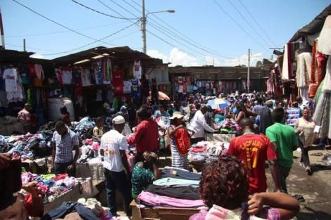 Buyers and sellers pictured at Gikomba second-hand clothes market in Nairobi County on January 20, 2019.