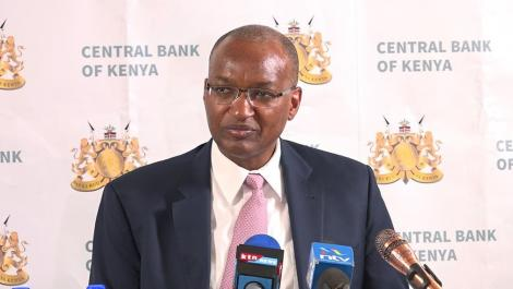 Central Bank of Kenya Governor Patrick Njoroge addresses a news conference at the Central Bank's buildings on Tuesday, May 28, 2019.