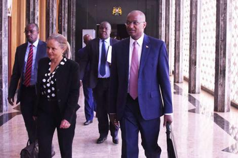 The Governor of the Central Bank of Kenya (CBK), Patrick Njoroge, with his deputy Sheila M'Mbijiwe in the Parliament buildings on February 26, 2019.