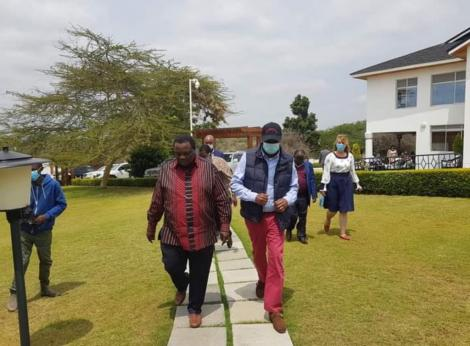 COTU Secretary General Francis Atwoli (Left) and Baringo Senator Gideon Moi pictured in Kajiado on August 16, 2020.