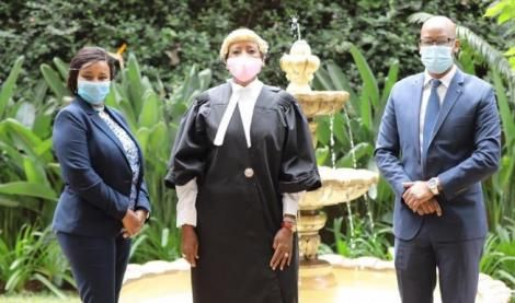 Sports CS Amina Mohamed (centre) after she was admitted to the Bar on July 3, 2020.