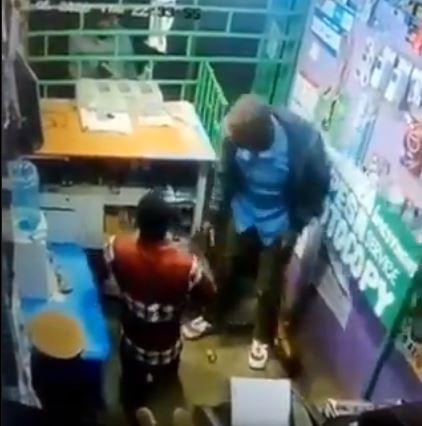 Snip shot of CCTV footage of a robbery which occurred at Dagoretti Corner, Wanye Road on Wednesday, March 11, 2020.
