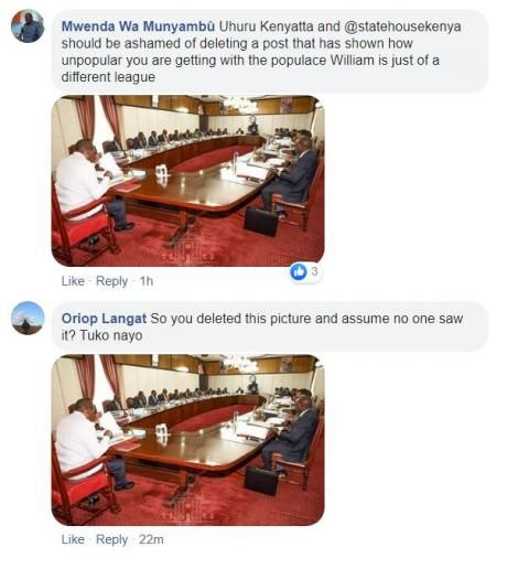 A screenshot of comments by Kenyans questioning State House's choice to delete photos of a Cabinet Meeting at State House in which Deputy President William Ruto was present, on Thursday, March 19, 2020.