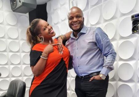 Kiss FM Presenters Kamene Goro and Felix Odiwuor alias Jalang'o posing for a photo on Tuesday, April 27.
