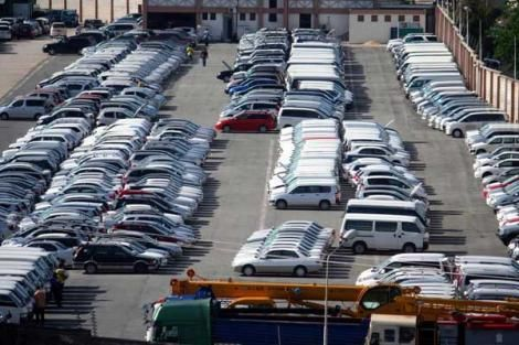 Imported cars await to be cleared at a local Clearing Freight Station (CFS) in Mombasa