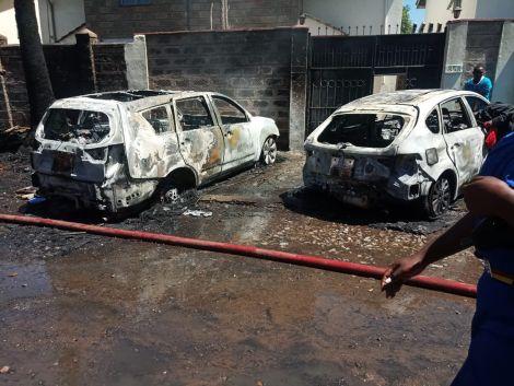 Cyrus Nduhiu's cars were burned outside his house in Imara Daima, Nairobi on February 27, 2021