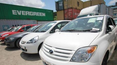 Cars pictured at a port in Mombasa.
