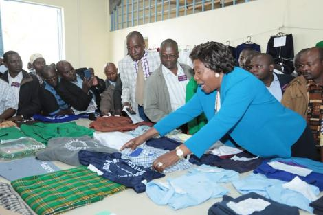 Kitui Governor Charity Ngilu at the Kitui County Textile Centre (KICOTEC) on October 27, 2018.