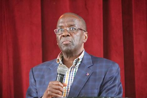 Former Chief Justice Willy Mutunga addresses students at a public lecture on January 29, 2020 at the Methodist University of KEnya.