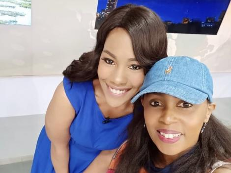 Citizen TV's Victoria Rubadiri (Left) and Monica Kiragu strike a pose in studio on December 2, 2019.