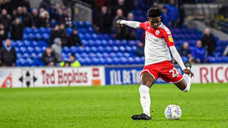 Barnsley left-back Clarke Oduor when he made his debut for the club away to Cardiff on December 7, 2019