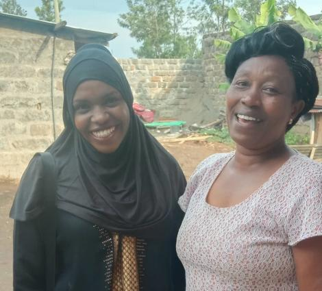 Comedian Zeddy (Left) and Njoro the comedian's mum pictured in Nakuru on July 20, 2020.