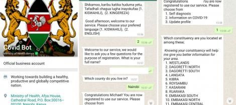 Screenshots showing how the Ministryof Health's WhatsApp bot works