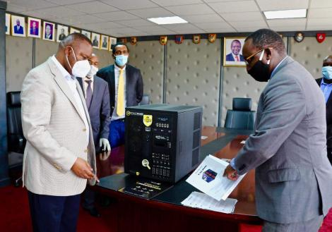 DCI Director Geroge Kinoti receives the Talino forensics workstation on April 28, 2020.