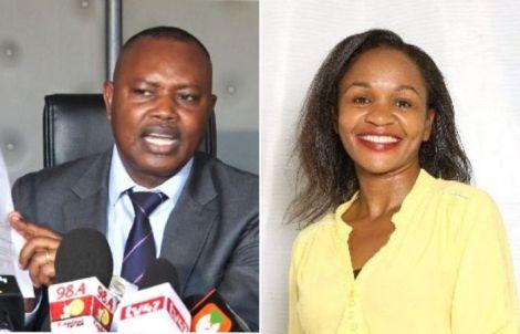 DCI George Kinoti (left) and Citizen TV investigative reporter Purity Mwambia.