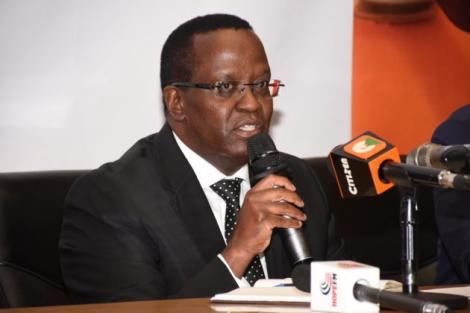 Bernard Ngugi addresses the media when he was appointed Kenya Power Managing Director and CEO on October 29, 2019.