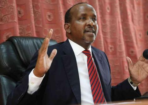 National Assembly Majority Leader Aden Duale addresses the media on June 13, 2019.