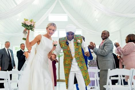 David Wachira and his bride Cecilie pictured during their wedding. June 12, 2020.