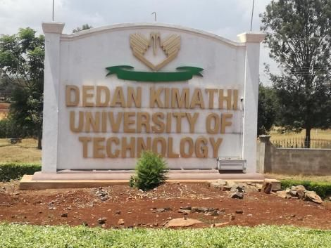 A road sign of Dedan Kimathi University of Technology.
