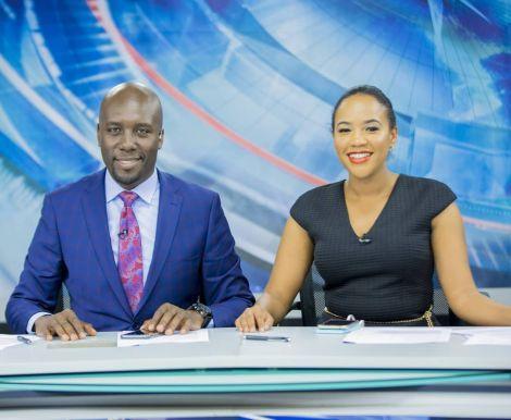 NTV News anchors Dennis Okari and Olive Burrows on set.
