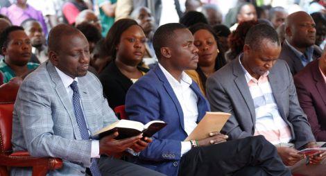 Deputy President William Ruto (left) and South Mugirango MP Sulvanus Osoro at a past event.