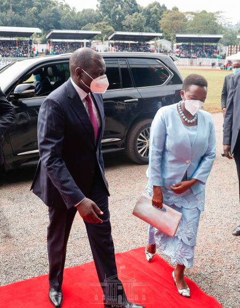 Deputy President William Ruto and his wife Rachel Ruto arriving at the Gusii Stadium for the Mashujaa Day celebrations October 20, 2020.