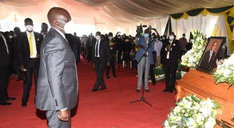 Deputy President William Ruto at the funeral of Huruma MCA Peter Kiiru Chomba on October 21, 2020..