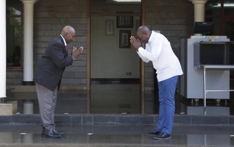 Deputy President Willian Ruto with Lee Njiru who worked as the late President Daniel Moi's press secretary for 44 years